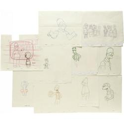 Simpsons Production Sketches Group. A set of te Simpsons Production Sketches Group.