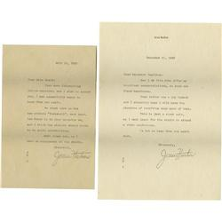 Jean Harlow Typed Letters Signed by Mama Jean. Jean Harlow Typed Letters Signed by Mama Jean.