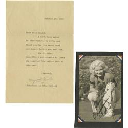 Jean Harlow Picture Signed by Mama Jean, With Jean Harlow Picture Signed by Mama Jean, With Letter f