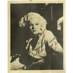 Jean Harlow Photo Signed by Harlow's Mama. Jean Harlow Photo Signed by Mama Jean Harlow.
