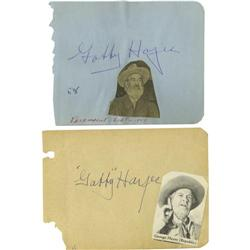 Gabby Hayes Autographs. Two autograph book pages Gabby Hayes Autographs.