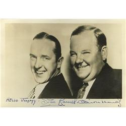"Laurel and Hardy Signed Photo. This 7"" x 5"" b&w Laurel and Hardy Signed Photo."