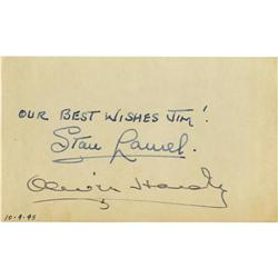 "Laurel and Hardy Signed Notecard. A 3"" x 5"" not Laurel and Hardy Signed Notecard."