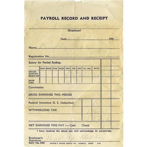 Wonderful Buddy Holly Signed Payroll Receipt. Dated Augus Buddy Holly Signed Payroll  Receipt. Idea Payroll Receipt