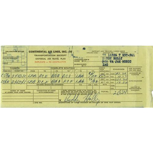 buddy holly signed receipt carbon copy receipt buddy holly signed