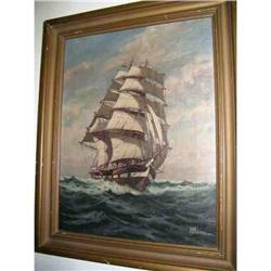 Vintage Clipper Ship Nautical Painting Listed #865779