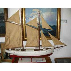 Antique 1900 English Pond Yacht Ship Model #865780