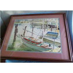 1964 Sailboats In Harbor Painting Signed #865785