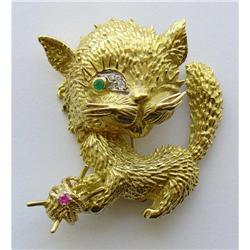 Gold Cat Pin with Jewels #865908