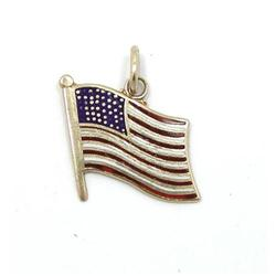 14 Kt Gold and Enameled American Flag Charm #865916