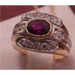 Ruby ring with diamonds in 18kt and plat. #865942