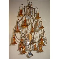 Exquisite Amber Flower Chandelier from France #865950