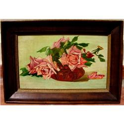 Beautiful AntiqueFrench Painting w Pink Flowers #865951