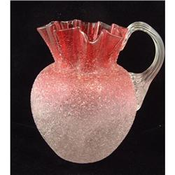 Overshot Crackle Glass Ruby Pitcher - 1880's #865963