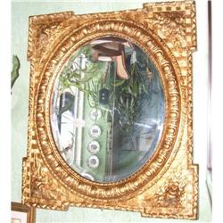 French carved Oval Mirror  Square frame #866051