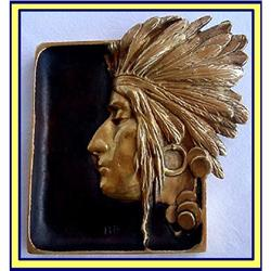 BRONZE GOLD INDIAN HEAD TRAY FRENCH NOUVEAU #866189