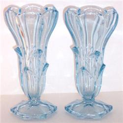 Crocus Blossom Ice Blue Depression Glass Vases  #850777