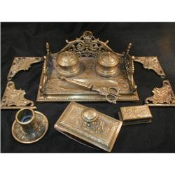 19th Century Antique Brass Ink Stand Desk Set #831967