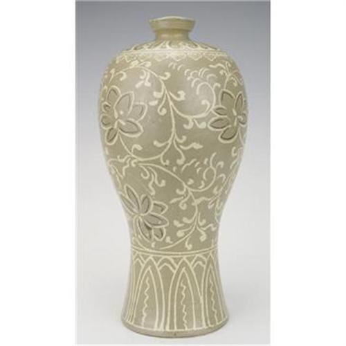 Korean Koryo Dyn Celadon Inlaid Plum Vase With 850214