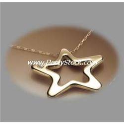 NEW Italian Stainless Steel PVD Gold Star 17 NECK