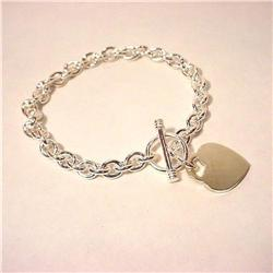 ENGRAVEABLE HEART CHARM SOLID STERLING SILVER BRA