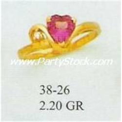 14K GOLD & LAB CREATED RUBY & CZ RING, 2.2g