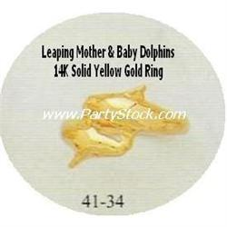 14K SOLID YELLOW GOLD MOMMY & BABY DOLPHIN RING 3