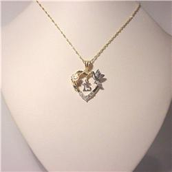 BIG! 14K Solid Gold Quinceanera Necklace 15 Years