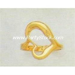 HEAVY! 14K SOLID YELLOW HOLLOW HEART GOLD RING 4.