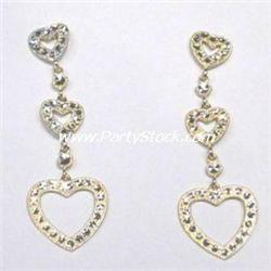 SOLID 14K GOLD 3 HEART EARRINGS! DANGLE 2 INCHES!