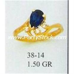 14K GOLD MARQUIS CREATED BLUE SAPPHIRE & CZ RING,