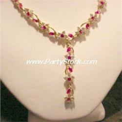 SOLID 14K GOLD & SYNTHETIC RUBY CZ NECKLACE 17