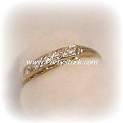$699. 14K YELLOW GOLD BAND WITH REAL DIAMOND INLA