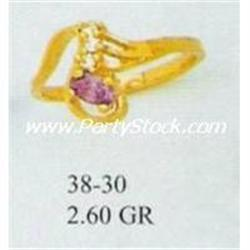 14K SOLID GOLD LAB CREATED AMETHYST & CZ RING, 3.