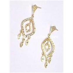 NEW 14K GOLD MARQUIS DANGLE PIERCED EARRINGS 4.3