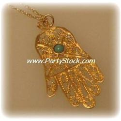 DELICATE HAMSA 1G NECKLACE JEWELRY 14 KARAT SOLID