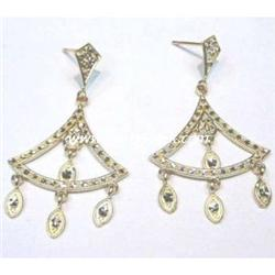 14K SOLID GOLD CHANDELIER EARRINGS DANGLE 1.75 !