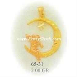 14K Gold Pendant Jewelry MAN IN THE CRESCENT MOON