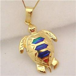 14K GOLD LAB CREATED OPAL SEA TURTLE 18 NECKLACE