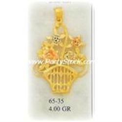 NEW HEAVY 14K Gold Pendant Charm BASKET BOUQUET F