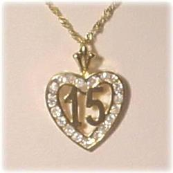 NEW 14K GOLD & CZ 15 QUINCEANERA PENDANT JEWELRY
