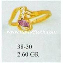14K SOLID GOLD LAB CREATED AMETHYST & CZ RING, 2.
