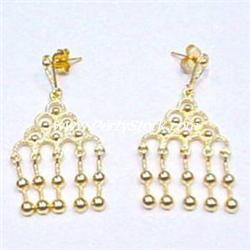 SOLID 14K GOLD BEADED CHANDELIER EARRINGS DANGLE