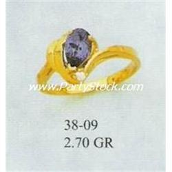14K GOLD & LAB CREATED BLUE SAPPHIRE & CZ RING, 2