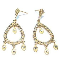 BIG, SOLID, MARQUIS 14K GOLD DANGLE 2 EARRINGS