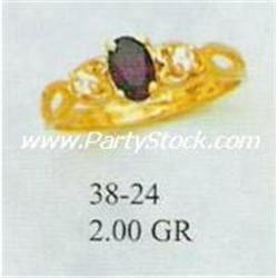 14K GOLD & LAB CREATED DARK RED GARNET & CZ RING