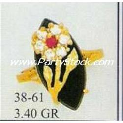 NEW 14K SOLID GOLD FLOWER ON MARQUIS CUT CZ RING