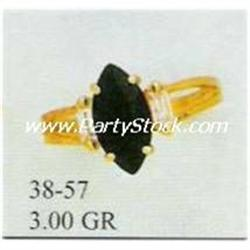14K SOLID GOLD & MARQUIS CUT LAB CREATED ONYX RIN