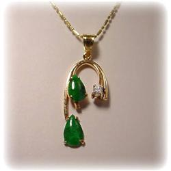 14K GOLD GENUINE JADE & DIAMOND PENDANT 18 NECKLA