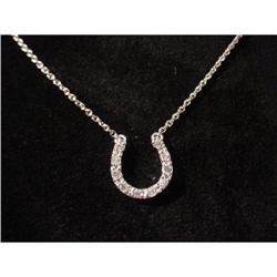 HORSEBIT HORSESHOE SILVER CZ NECKLACE